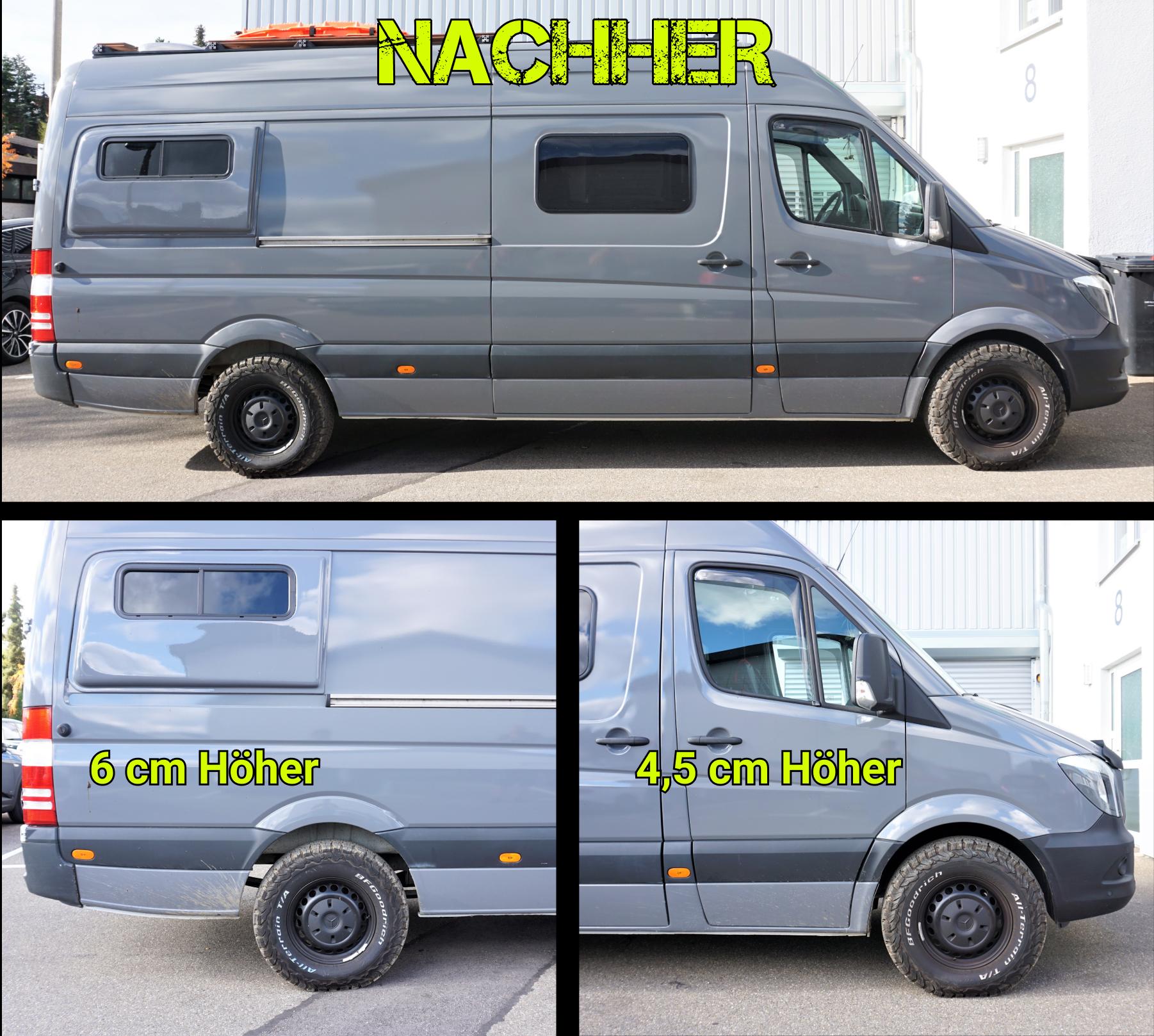 MB Sprinter 906 906 Höherlegung Bodylift Umbereifung größere Reifen
